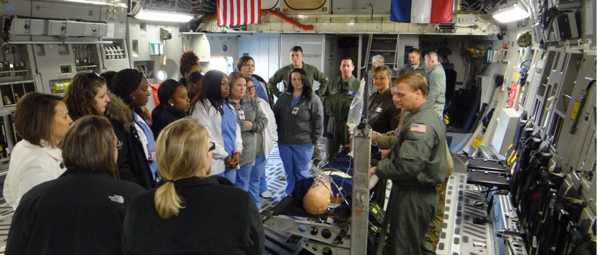 Practical nursing students receive flying hospital tour Picture